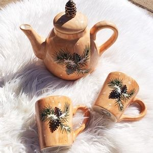 Winter Pine Cone Snowflakes Brown Tea Pot Set